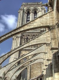 Flying Buttresses At Notre Dame Cathedral Giving Masonry Support To The Walls Of Nave