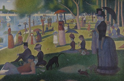What is the medium of a sunday afternoon on the island of la grande jatte