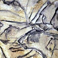 Stone Age Lions Watching Prey Chauvet Cave C30000 BCE Franco Cantabrian Art From The Late Aurignacian
